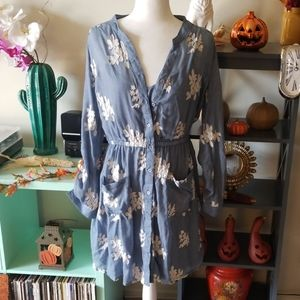Embroidered Chambray Button Front Dress